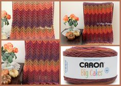 Hello Fall Ripple Afghan made with Caron Big Cakes, easy crochet pattern