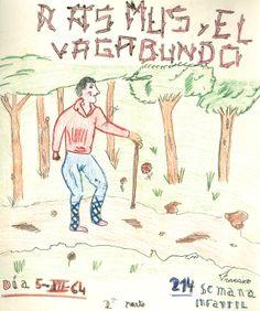 """Cartell il·lustrat per Francisco, per informar de l'hora del conte programada pel dia 5 de desembre de 1964 en la biblioteca Pare Miquel d'Esplugues. El títol de la narració fou: """"Rasmus y el vagabundo (2a parte)"""""""