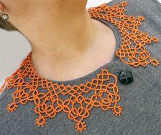 Оранжевый воротник - кружевной воротник - воротник фриволите - женские аксессуары - элегантный воротник - стиль винтаж
