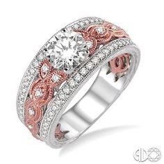 3/4 Ctw Diamond Engagement Ring with 3/8 Ct Round Cut Center Stone in 14K White and Rose/Pink Gold