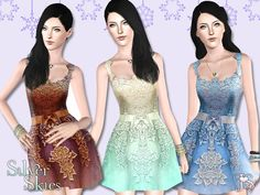 Silver Skies Lace Dress by JavaSims - Sims 3 Downloads CC Caboodle