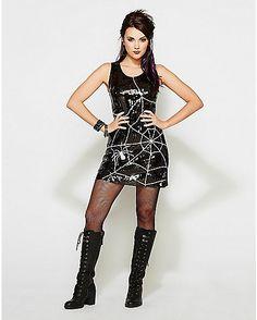 Spiderweb Sequin Witch Dress - Spencer's