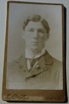 """CARTE DE VISITE (CDV) OF AN EMORY COLLEGE STUDENT GRADUATE, CLASS OF 1896. SIGNED ON THE BACK BY """" YOUR FRIEND AND CLASS-MATE OF '96, W. D. THOMSON, ATLANTA, GA."""" LAPEL PIN DIAMOND + CROSS. From the J. Fred Rodriguez Atlanta Collection."""