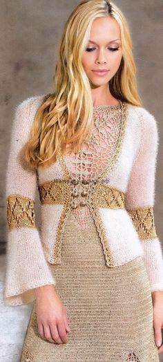 Knitted Sweater Dress Жакет-трансформер вязаный спицами и декорированный крючком