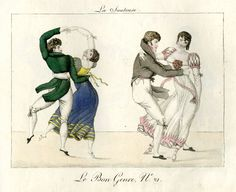 Plate 21: two couples dance energetically. 1802-12  Hand-coloured etching