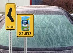 You can also use a stocking or sock filled with cat litter to prevent frost. Good winter car tips!