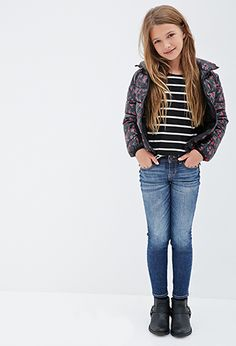 GIRLS CLOTHING AGES 6-12 | GIRLS | Forever 21 FOREVER 21 GIRLS Shiny Rose Print Puffer Jacket (Kids) Was:$24.90 Now:$17.43