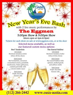 Check out this event on New Year's at the world famous Oasis! Ending 2013 and starting off 2014 w/ an Austin favorite!