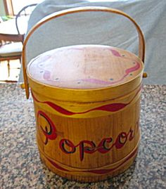 Vintage Popcorn firkin for sale at More Than McCoy at http://www.morethanmccoy.com