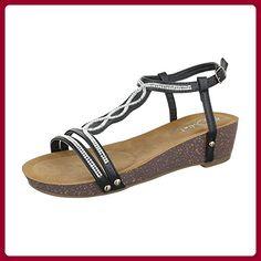 Keilsandaletten Damen Schuhe Plateau Keilabsatz/ Wedge Strass Besetzte Schnalle Ital-Design Sandalen / Sandaletten Schwarz, Gr 38, Ju-45- - Sandalen für frauen (*Partner-Link)