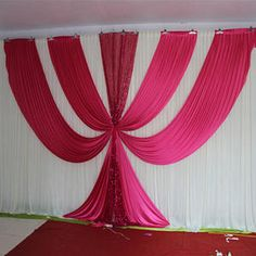 2017 New Design Fusia Ice Silk sequin swags and drapes wedding backdrop hot pink stage background event party decoration Church Altar Decorations, Wedding Hall Decorations, Backdrop Decorations, Decoration Table, Wedding Backdrop Design, Wedding Reception Backdrop, Backdrop Event, Wedding Table Layouts, Party Kulissen