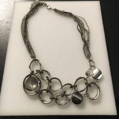 Silver statement necklace Silver statement necklace with clear stones Express Jewelry Necklaces