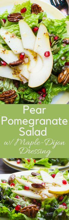 Pear Pomegranate Salad with Maple Dijon Dressing is a nice starter for holiday meals w/gorgonzola croutons & glazed pecans.