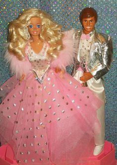 1998 SuperStar Barbie and Ken - I'm pretty sure I had both of these. I still have the short skirt that came with this doll, though the silver has mostly peeled off around the edges.