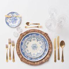 + Our Walnut Florentine Chargers + Blue Garden Collection Vintage China + Gold Chateau Flatware + Czech Crystal Stemware + Antique Crystal Salt Cellars #cdpdesignpresentation #