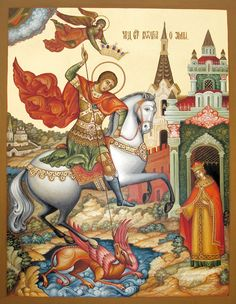 Medieval Town, Medieval Art, Religious Icons, Religious Art, Hl Georg, Saint George And The Dragon, Constantino, Byzantine Icons, Art Icon