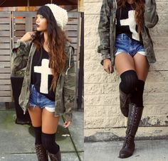 Cross Sweater, White Beanie, Camo Jacket, High Waisted Shorts, Over The Knee Socks, Lace Up Combat Bootss