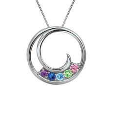 #Zales - #Suncor Ventures Inc. Mother's Birthstone Swirling Circle Pendant in Sterling Silver (2-8 Stones) - AdoreWe.com