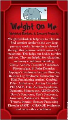 Information about weighted blankets including uses and benefits. I posted this in spite of the typo (should be *serotonin).