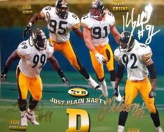 Greg Lloyd, Levon Kirkland, Kevin Greene-, Jason-Gildon. Pittsburgh Steelers limted edition autographed photograph. The Bid Nasty D (circa 1995).