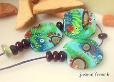 jasmin french ' gorilla girl ' lampwork focal beads set glass art