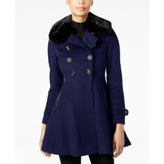 Via Spiga Faux-Fur-Collar Skirted Wool Coat ($400) ❤ liked on Polyvore featuring outerwear, coats, navy, pea coat, via spiga coats, navy pea coat, navy blue coat and navy peacoats