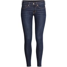 H&M Skinny Regular Jeans ($23) ❤ liked on Polyvore featuring jeans, pants, bottoms, calça, dark denim blue, h&m, slim fit skinny jeans, skinny leg jeans, skinny fit jeans and blue jeans