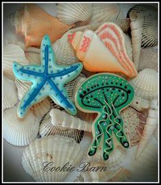 Sea Life Cookies Shell Cookies Jelly Fish Cookies by CookieBarn