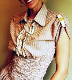 DIY Zipper Ruffle Shirt Sewing Craft--starts with an oversized men's dress shirt. Designed by Megan of Brassy Apple.