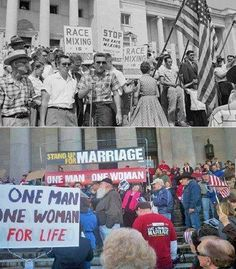 Opposing gay marriage and race mixing.  See the similarities?