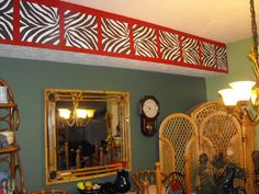 Safari Theme dining room decor with zebra print Wall decals by WallPops. Love it!