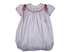 Pelele white camel colored hand embroidery. Child clothing Nidala 34.95