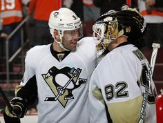 PENGUINS 5, FLYERS 4 — Pascal Dupuis #9 and Tomas Vokoun #92 of the Pittsburgh Penguins celebrate after the Pens come back from a 3-0 1st Period deficit to defeat the Philadelphia Flyers 5-4 on March 7, 2013 at the Wells Fargo Center in Philadelphia.
