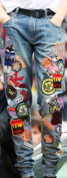 badges on jeans - DKNY 2014