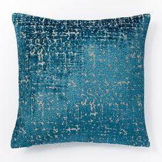 Jacquard Velvet Allover Textured Pillow Cover - Blue Teal | west elm