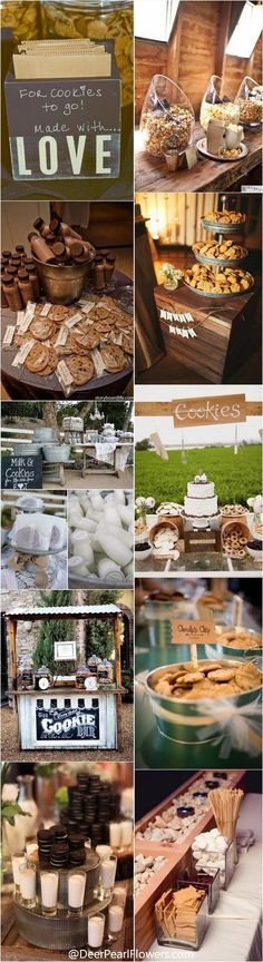 Rustic country wedding food ideas - Milk and cookies for wedding / / http://www.deerpearlflowers.com/wedding-smore-cookies-milk-bar-ideas/