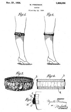 Patent Application for Garters - used for rolled down stockings - 1926 Art Deco Fashion, Vintage Fashion, Nylons, Vintage Lingerie, Vintage Fabrics, Retro Outfits, Garter, 1920s, Stockings