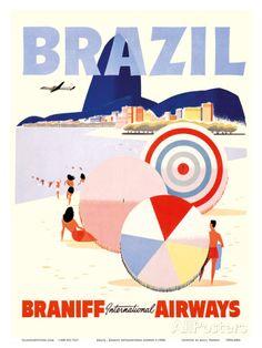 Rio de Janeiro Brazil - Braniff International Airways Art Print