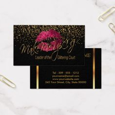 #makeupartist #businesscards - #Make Me Up Artist with Gold Confetti Business Card