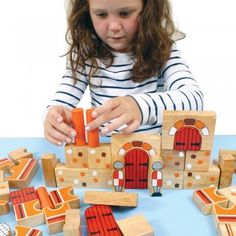 Perfect for little knights. Beautiful Castle Wooden Building Blocks. Contains over 45 castle themed, brightly coloured, solid rubber wood blocks which can be built up in a multitude of ways to create castles and towers.