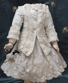 """Antique Two-piece Silk &Lace dress for Jumeau Bru Steiner Eden bebe Schmitt bebe doll about 22"""" tall Antique dolls at Respectfulbear.com"""