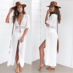 Klv Sexy V-neck Oversized Open Front Kimono Cardigan Rainbow Zebra Stripes Swimsuit Cover Up Drawstring Waist Maxi Kaftan Robe More Discounts Surprises Women's Clothing