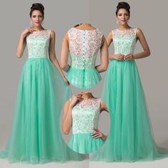 2014 Sleeveless Women Long Formal Lace Cocktail Bridesmaid Evening Prom Dresses #GraceKarin #BallGown #Clubwear