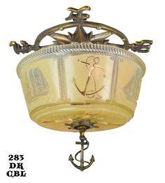 Nautical Marine Close Ceiling Bowl Light Fixture | Modernism