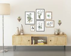Gallery wall, set of 6 herb prints by Ksenia Topaz