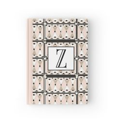 1920s Pink Champagne Deco Monogram letter Z by CecelyBloom  (Hard Cover Journal Notebook)