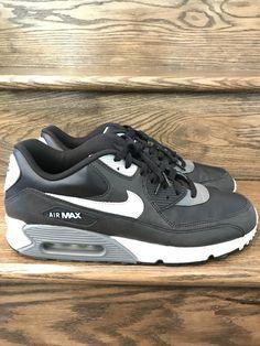 4d7be2d0bc0 Mens Nike Air Max 90 Essential Black Silver Dark Grey Sz. 13
