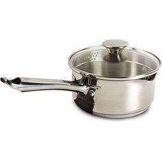 WearEver Cook & Strain Stainless Steel 1.5-Quart Saucepan