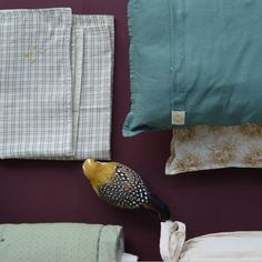 Check pillow case, small padded cushions by Camomile london