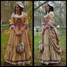American colonial style costume, ca. 1780. Zone front open robe anglaise.  Reproduction made by Angela Mombers.